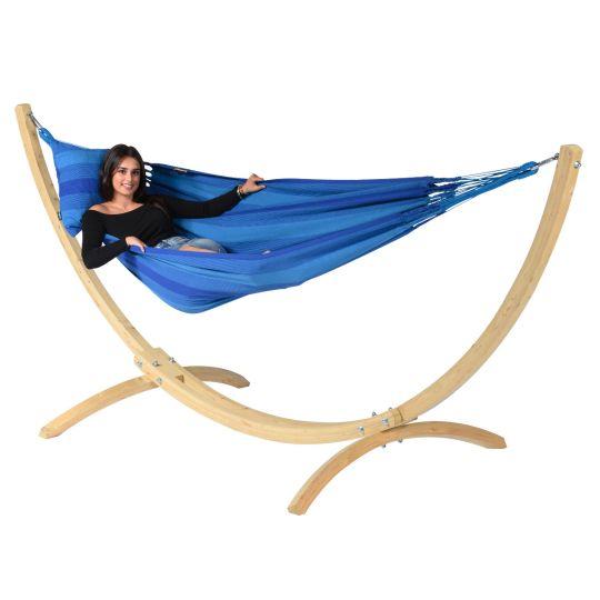 Cama de Rede com suporte para 1 pessoa Wood & Dream Blue