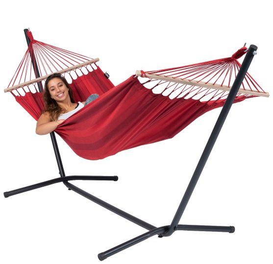 Cama de Rede com suporte para 1 pessoa Easy & Relax Red