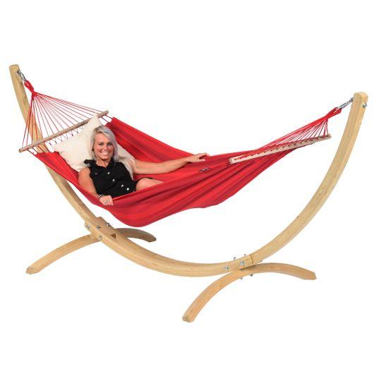 Cama de Rede com suporte para 1 pessoa Wood & Relax Red