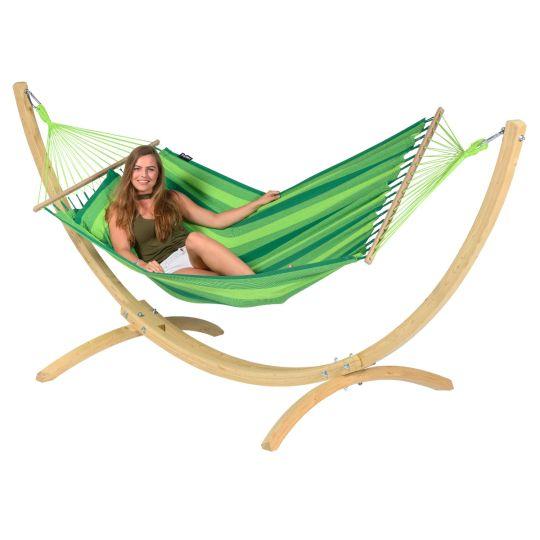 Cama de Rede com suporte para 1 pessoa Wood & Relax Green